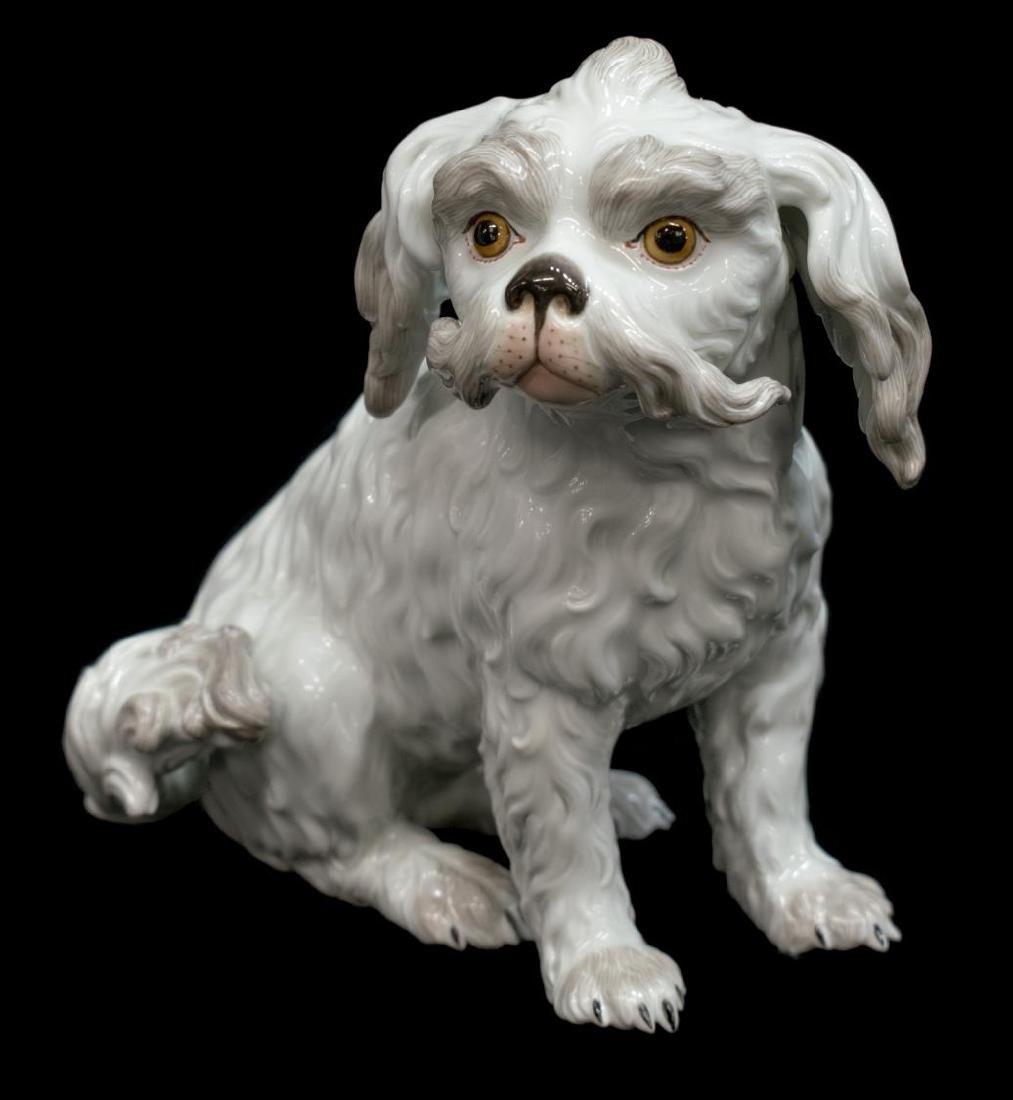 (2) MEISSEN PORCELAIN FIGURE BOLOGNESE DOG - 2