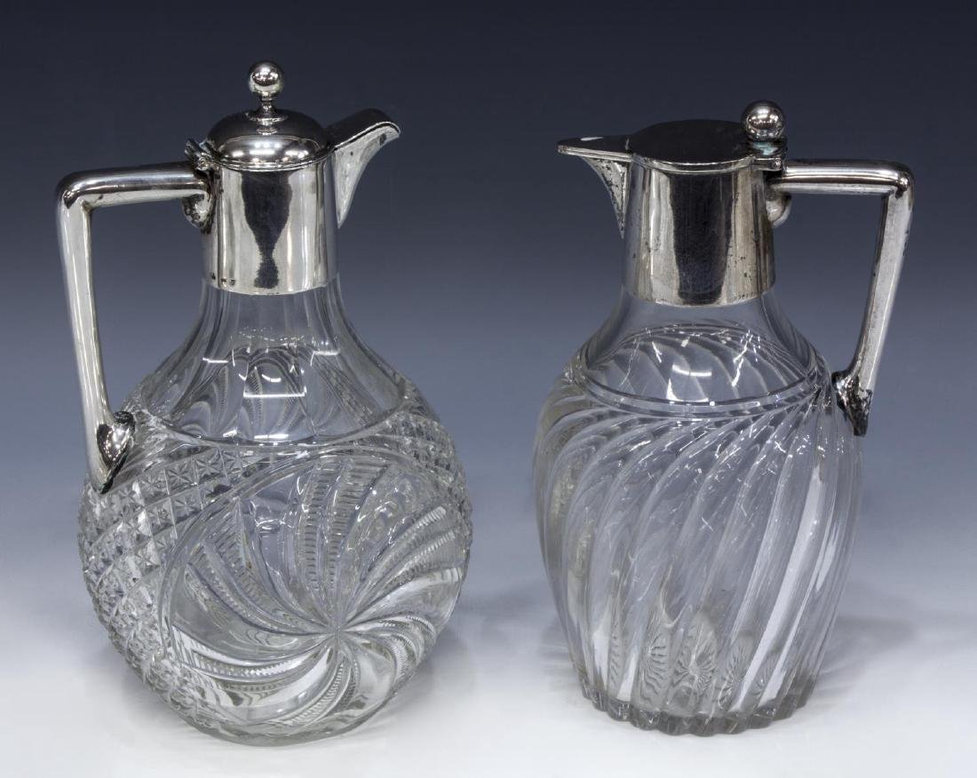 (2) GERMAN 800 SILVER MOUNTED CUT CLARET JUGS