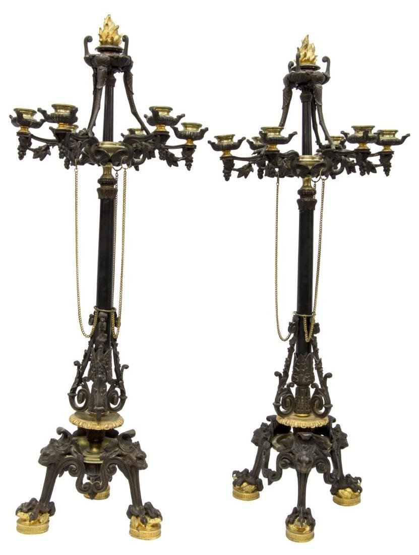 (2) FRENCH EMPIRE STYLE PAW FOOT BRONZE CANDELABRA