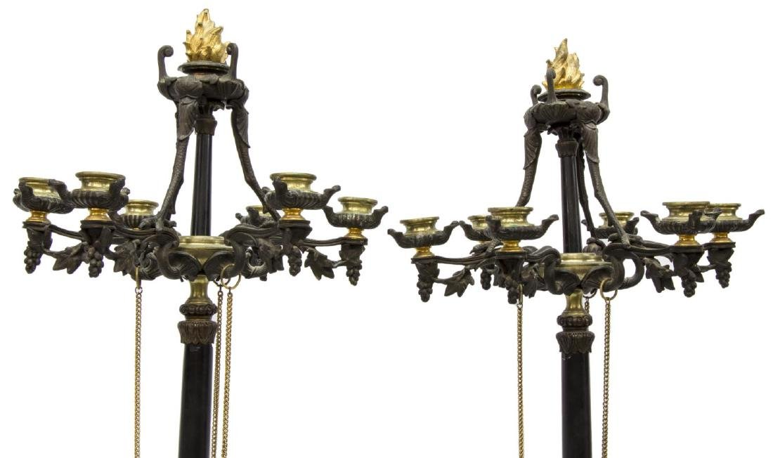 (2) FRENCH EMPIRE STYLE PAW FOOT BRONZE CANDELABRA - 2