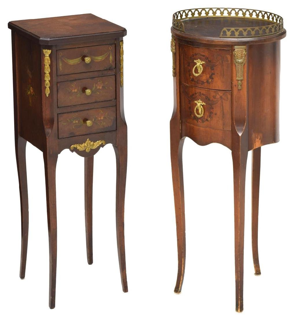 (2) FRENCH FLORAL ACCENTED SIDE TABLES