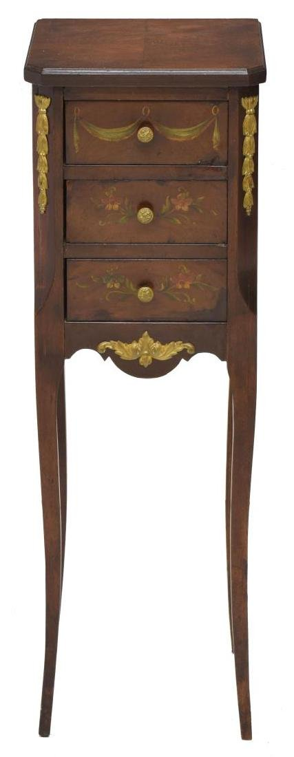 (2) FRENCH FLORAL ACCENTED SIDE TABLES - 3