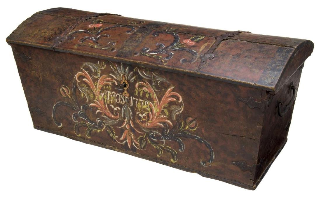 LARGE SWEDISH PAINTED PINE DOME TOP WEDDING CHEST