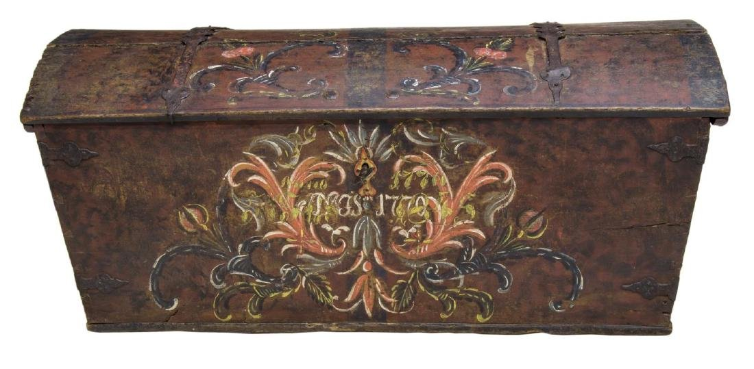 LARGE SWEDISH PAINTED PINE DOME TOP WEDDING CHEST - 2