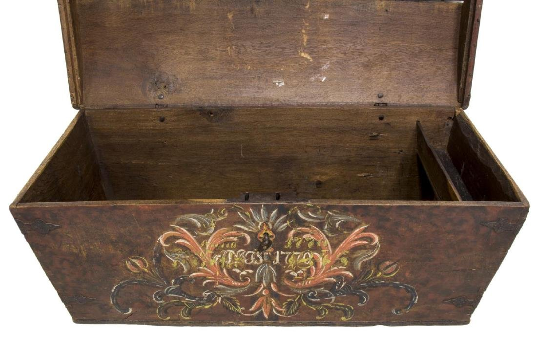 LARGE SWEDISH PAINTED PINE DOME TOP WEDDING CHEST - 4