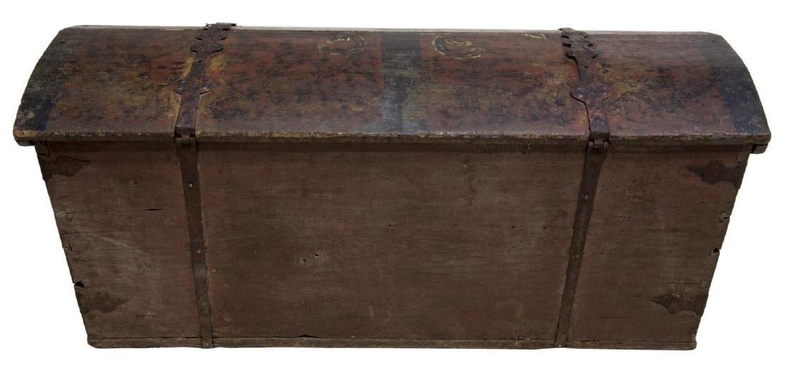 LARGE SWEDISH PAINTED PINE DOME TOP WEDDING CHEST - 5