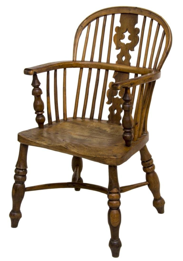ENGLISH YEW & ELM WOOD WINDSOR ARM CHAIR, 19TH C.