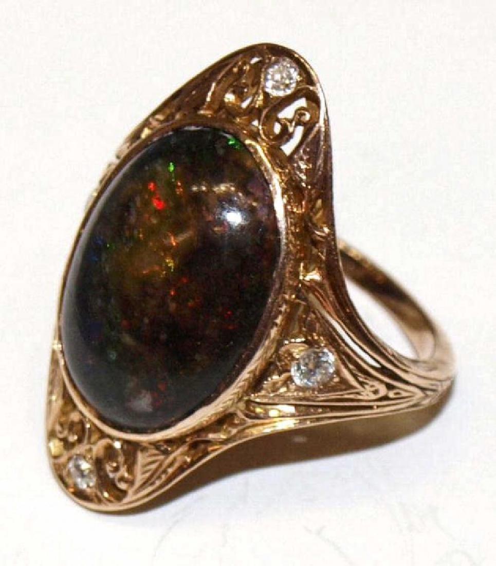 ANTIQUE 14KT ROSE GOLD, BLACK OPAL DIAMOND RING