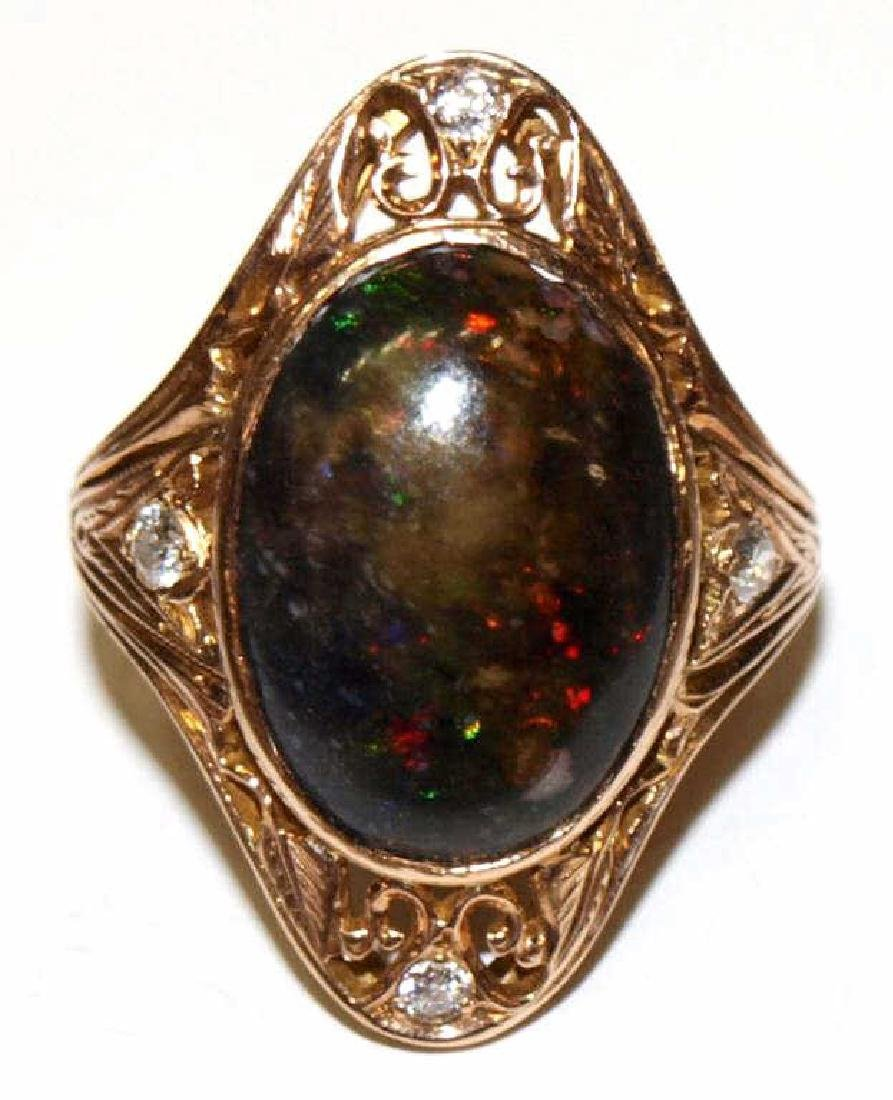 ANTIQUE 14KT ROSE GOLD, BLACK OPAL DIAMOND RING - 2