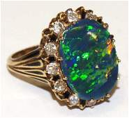 ESTATE BLACK OPAL DIAMOND ENAMEL 14KT GOLD RING