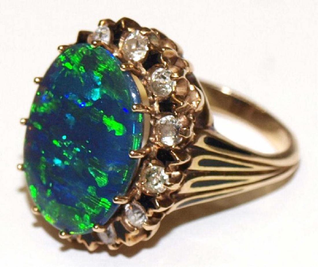 ESTATE BLACK OPAL, DIAMOND, ENAMEL, 14KT GOLD RING - 3