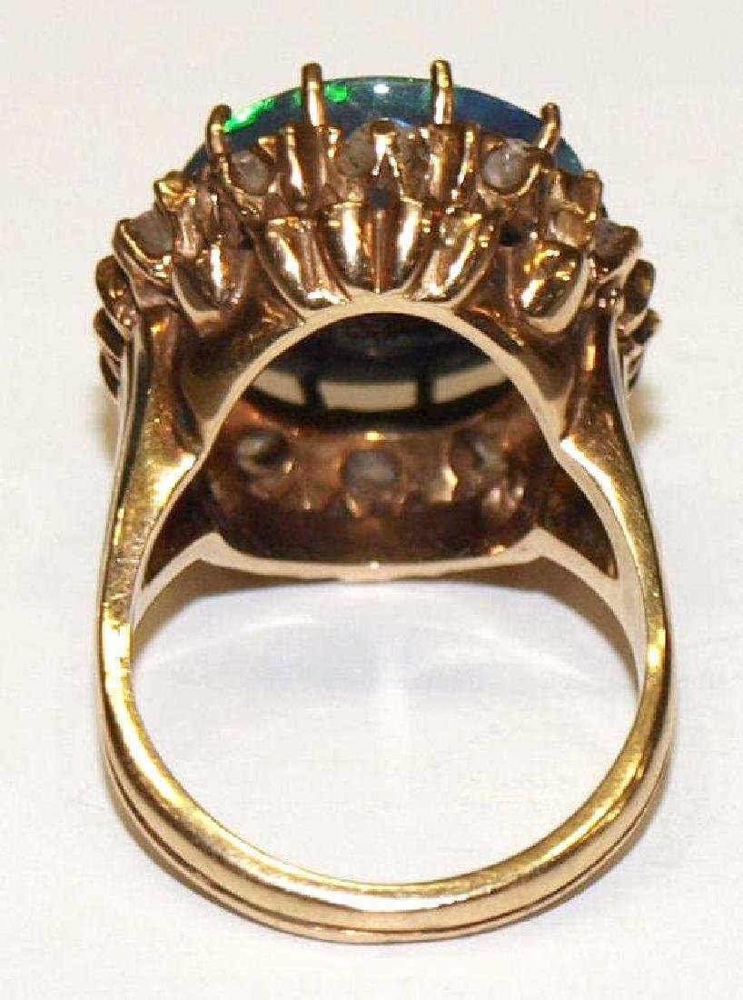 ESTATE BLACK OPAL, DIAMOND, ENAMEL, 14KT GOLD RING - 4