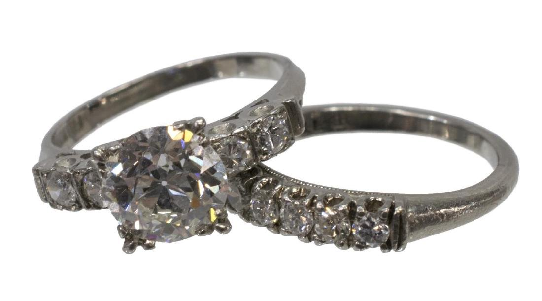 LADIES ESTATE DIAMOND & PALLADIUM WEDDING SET