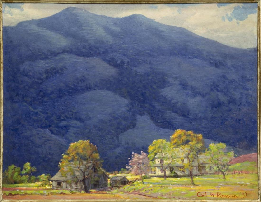 CARL RAWSON (1884-1970) PAINTING, FARM & MOUNTAINS