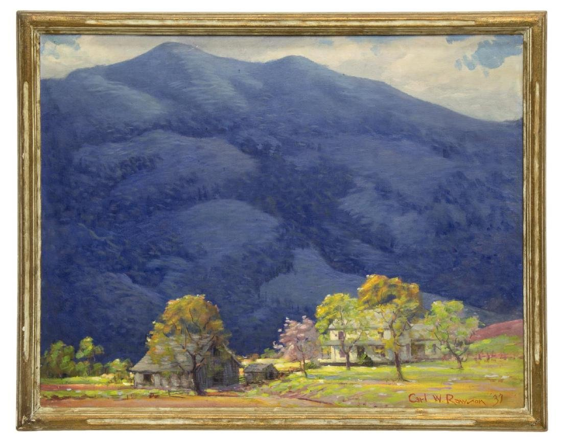 CARL RAWSON (1884-1970) PAINTING, FARM & MOUNTAINS - 2