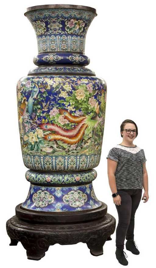 Monumental Chinese Cloisonne Vase Stand