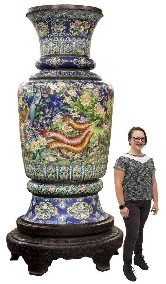 MONUMENTAL CHINESE CLOISONNE VASE & STAND