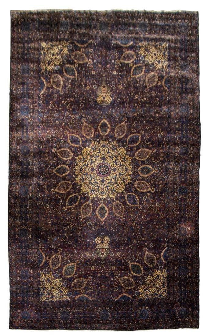 """MONUMENTAL SIGNED PERSIAN YZAD RUG, 13'7"""" x 23'2"""