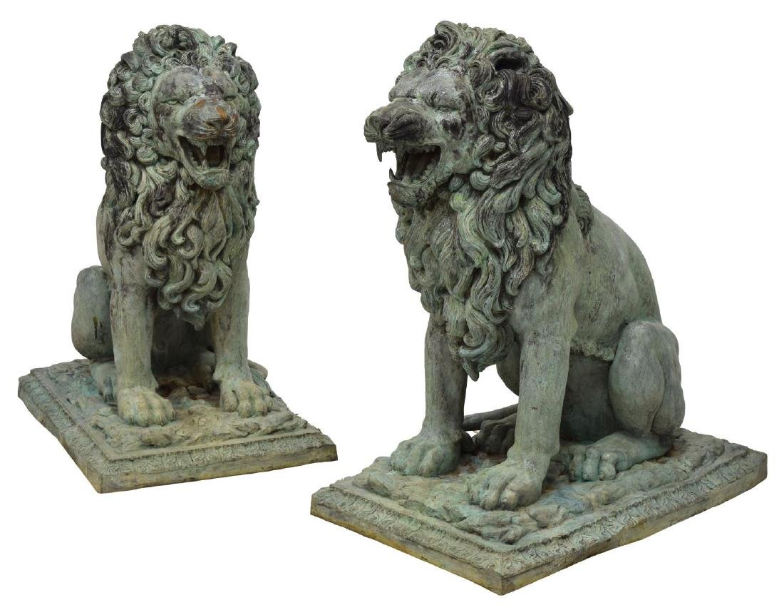(PAIR) LARGE SEATED OPPOSED BRONZE LIONS
