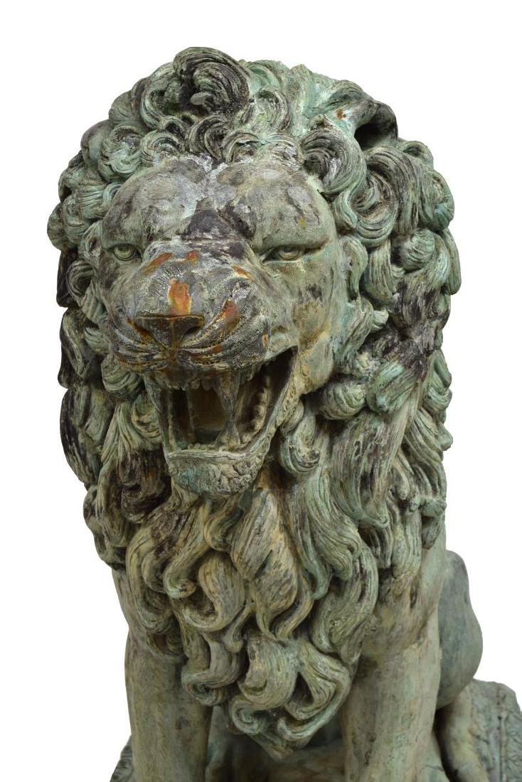 (PAIR) LARGE SEATED OPPOSED BRONZE LIONS - 3