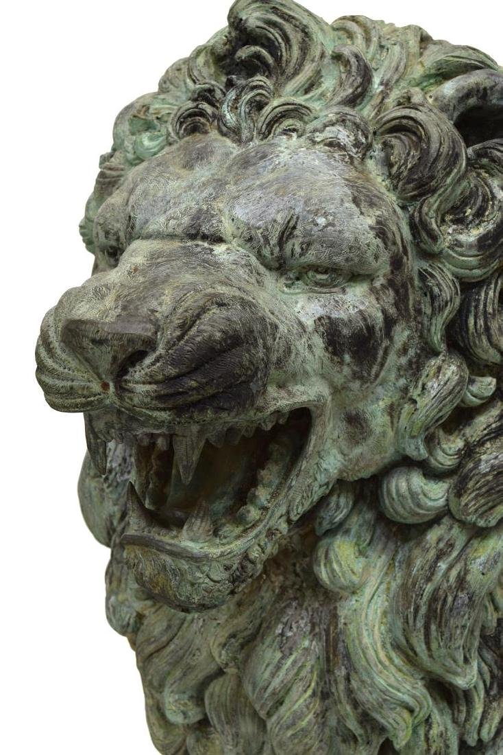 (PAIR) LARGE SEATED OPPOSED BRONZE LIONS - 4