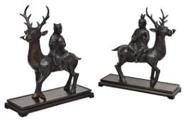 2 CHINESE PATINATED BRONZE CHILDREN RIDING DEER