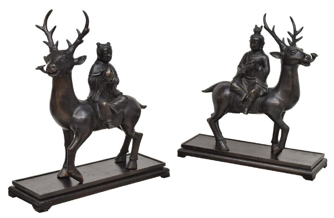 (2) CHINESE PATINATED BRONZE, CHILDREN RIDING DEER