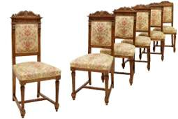 (6) RENAISSANCE REVIVAL CARVED SIDE CHAIRS