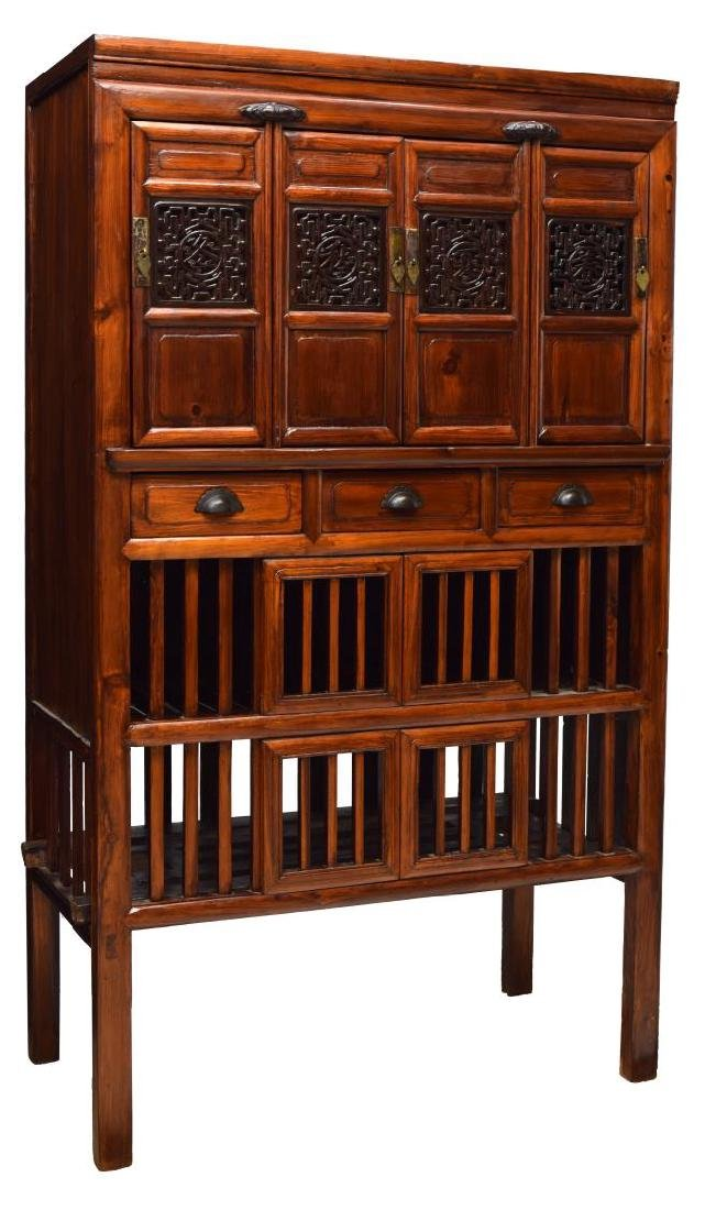CHINESE CARVED ELMWOOD CABINET WITH DRAWERS