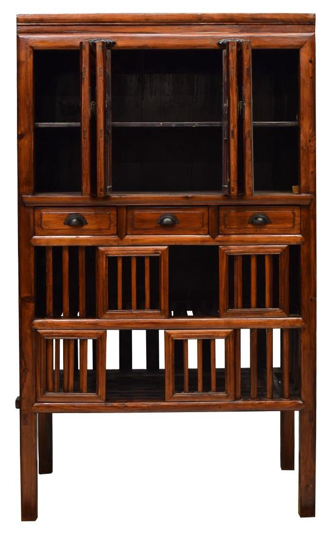 CHINESE CARVED ELMWOOD CABINET WITH DRAWERS - 2