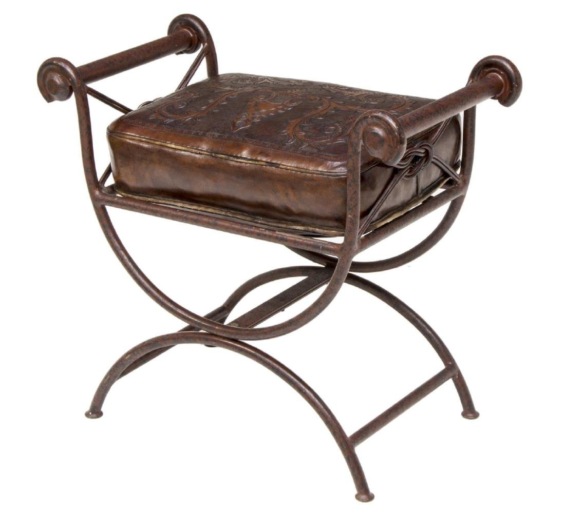 KLISMOS STYLE IRON BENCH W/ TOOLED LEATHER CUSHION