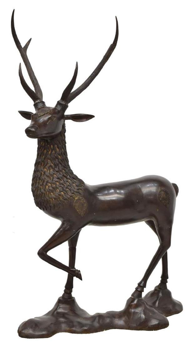 LARGE CHINESE PATINATED BRONZE FIGURE OF A DEER