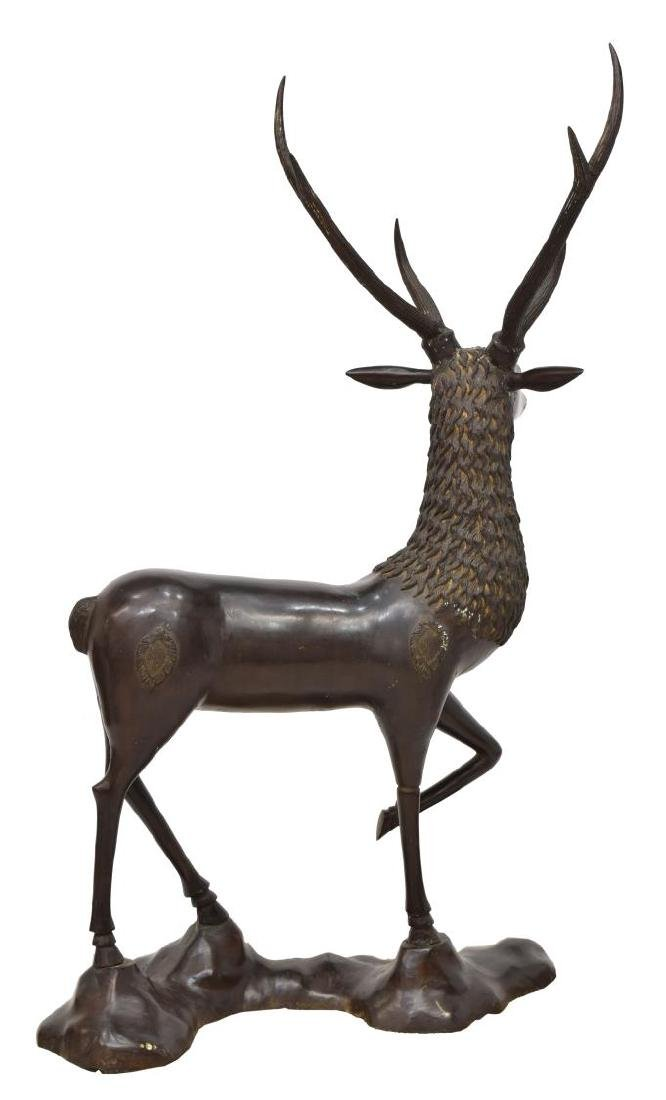 LARGE CHINESE PATINATED BRONZE FIGURE OF A DEER - 2