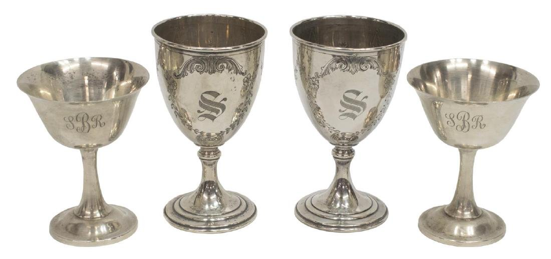 (4) AMERICAN MONOGRAMMED STERLING SILVER GOBLETS