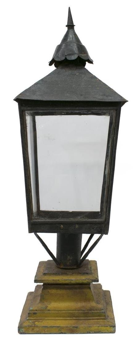ANTIQUE ANGLO-INDIAN POST LANTERN ON WOOD BASE