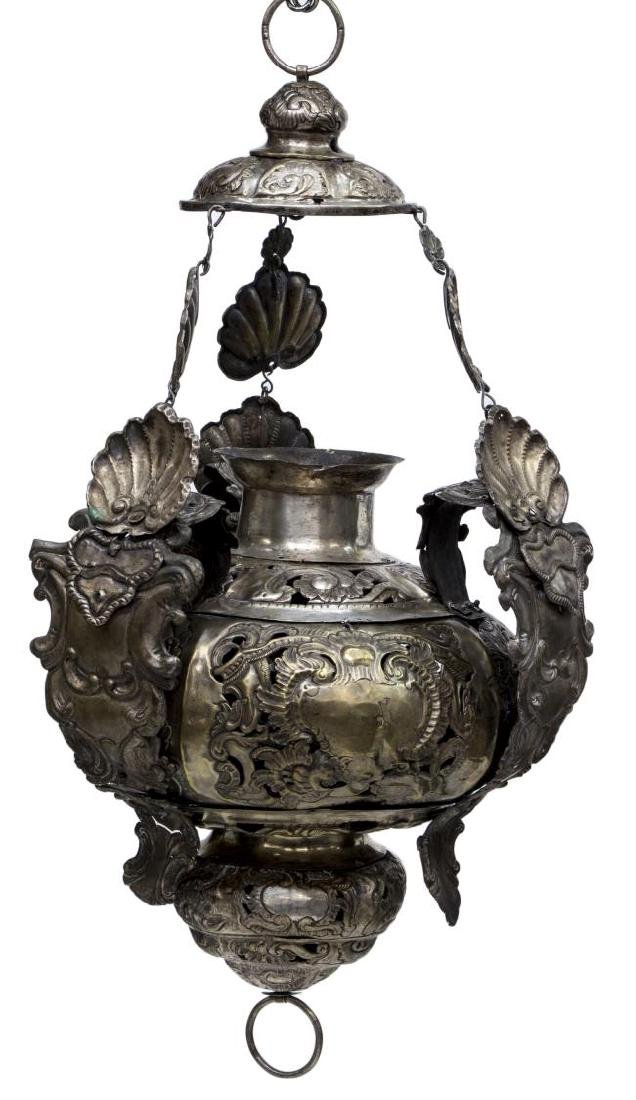 DUTCH SILVER-PLATED BRASS HANGING INCENSE THURIBLE