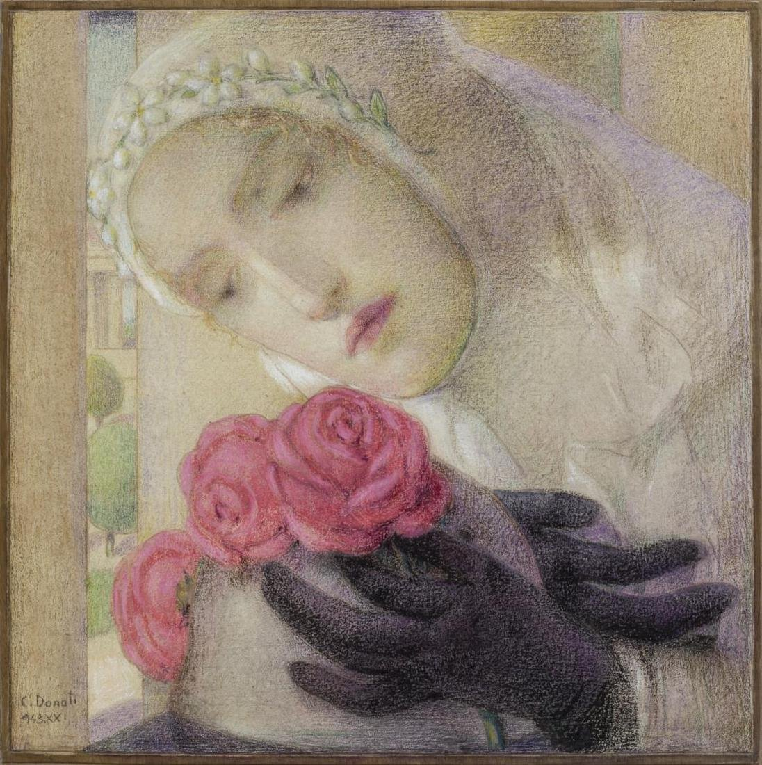 "CARLO DONATI (1874-1949), ""THREE SCARLETT ROSES"""