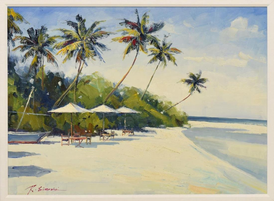 LARGE SIGNED PALM TREES & WHITE SAND PAINTING