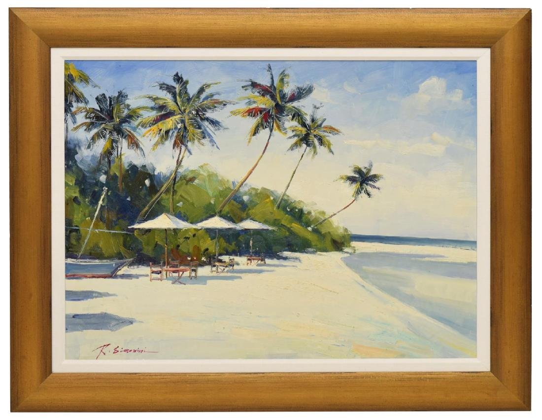 LARGE SIGNED PALM TREES & WHITE SAND PAINTING - 2