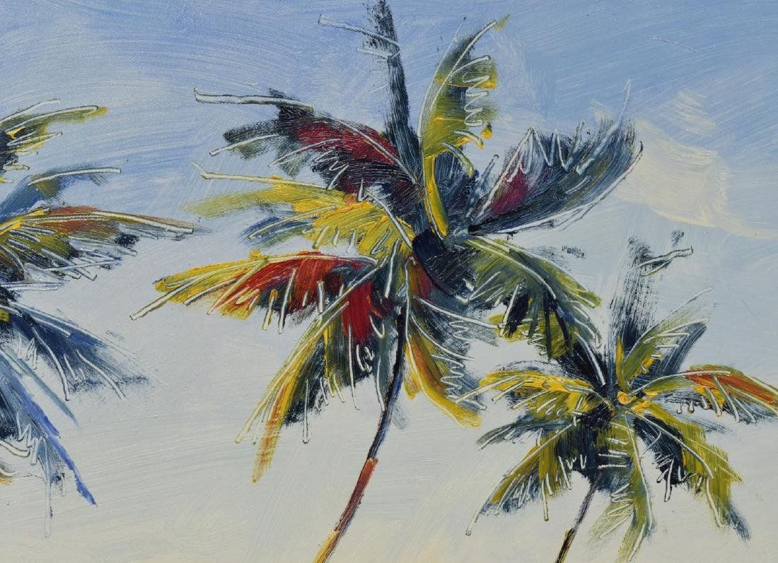 LARGE SIGNED PALM TREES & WHITE SAND PAINTING - 3