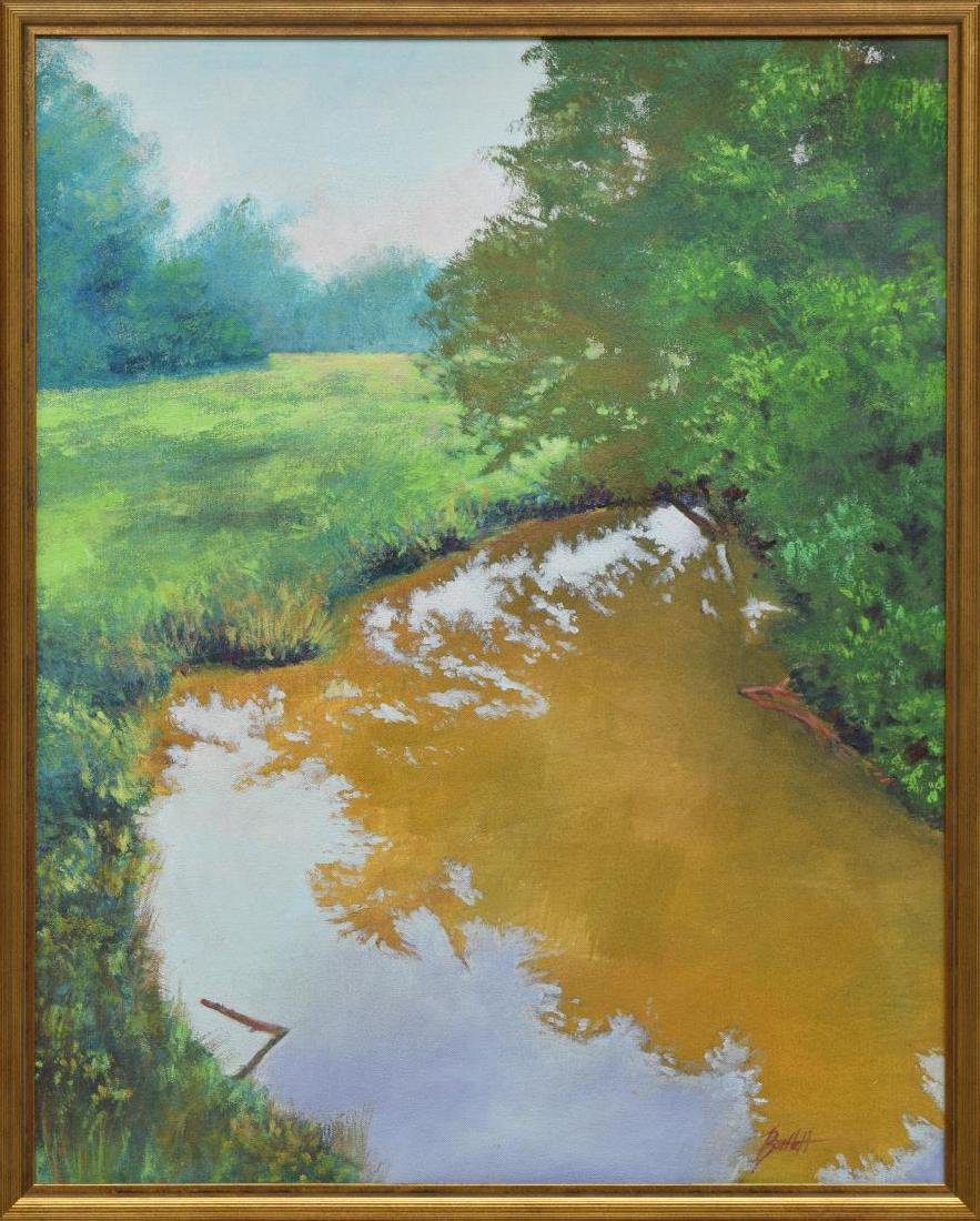 FRAMED SIGNED OIL PAINTING, BEND IN THE CREEK