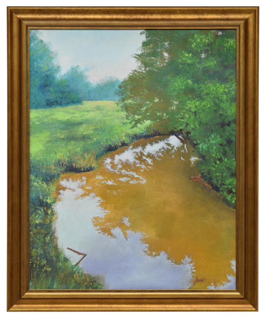 FRAMED SIGNED OIL PAINTING, BEND IN THE CREEK - 2