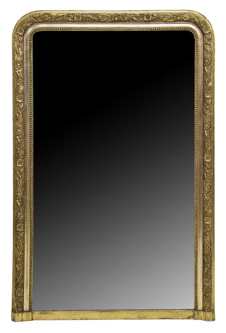 ANTIQUE FRENCH GILDED FLOWERS & VINES WALL MIRROR