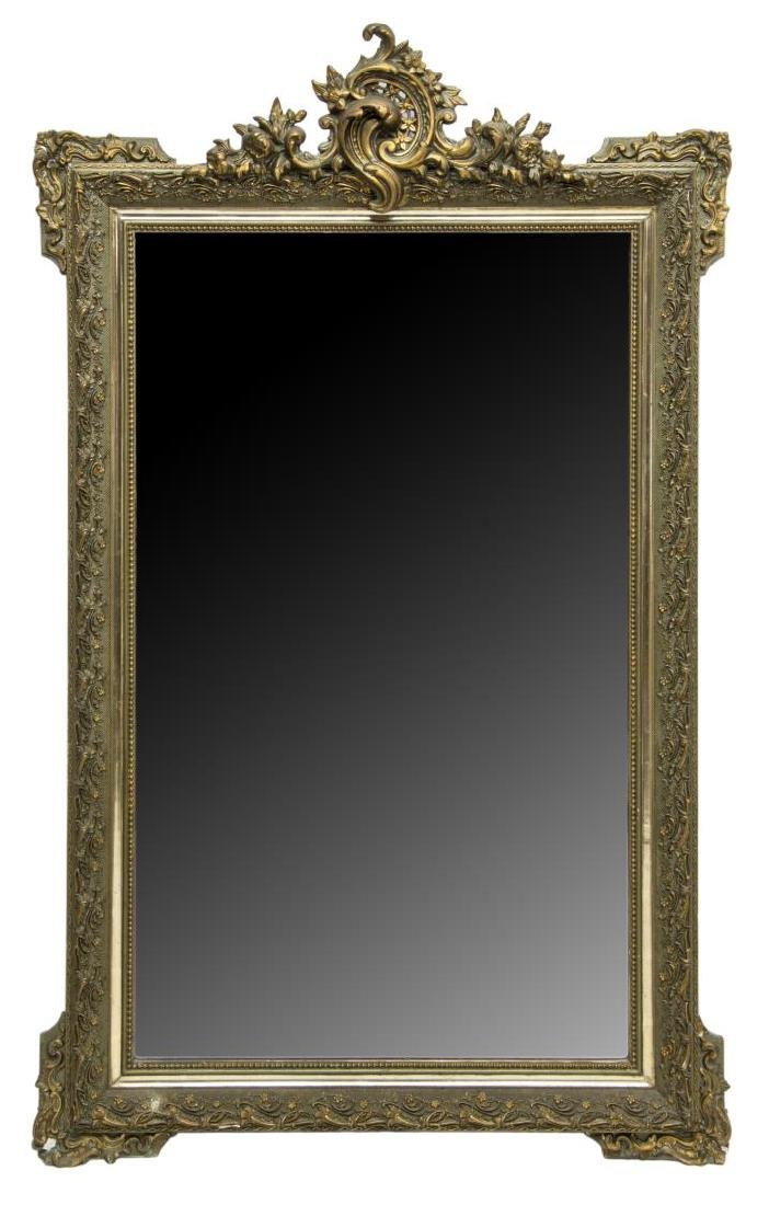 ITALIAN LOUIS XV STYLE GILT WOOD WALL MIRROR