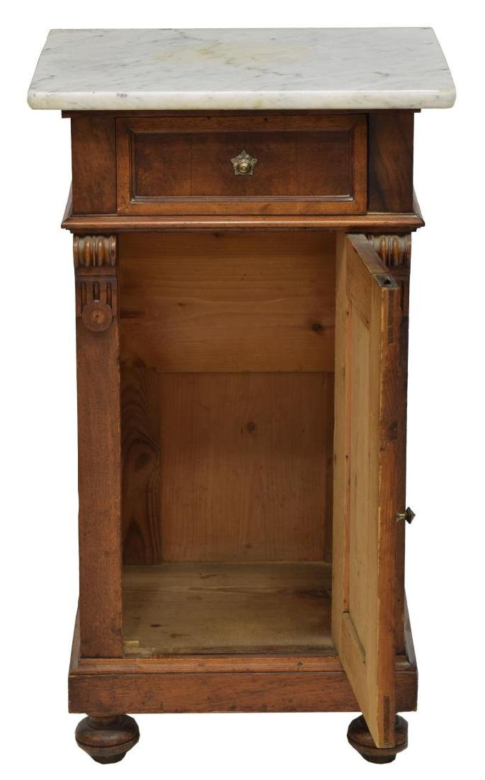VICTORIAN MARBLE TOP BEDSIDE CABINET - 2