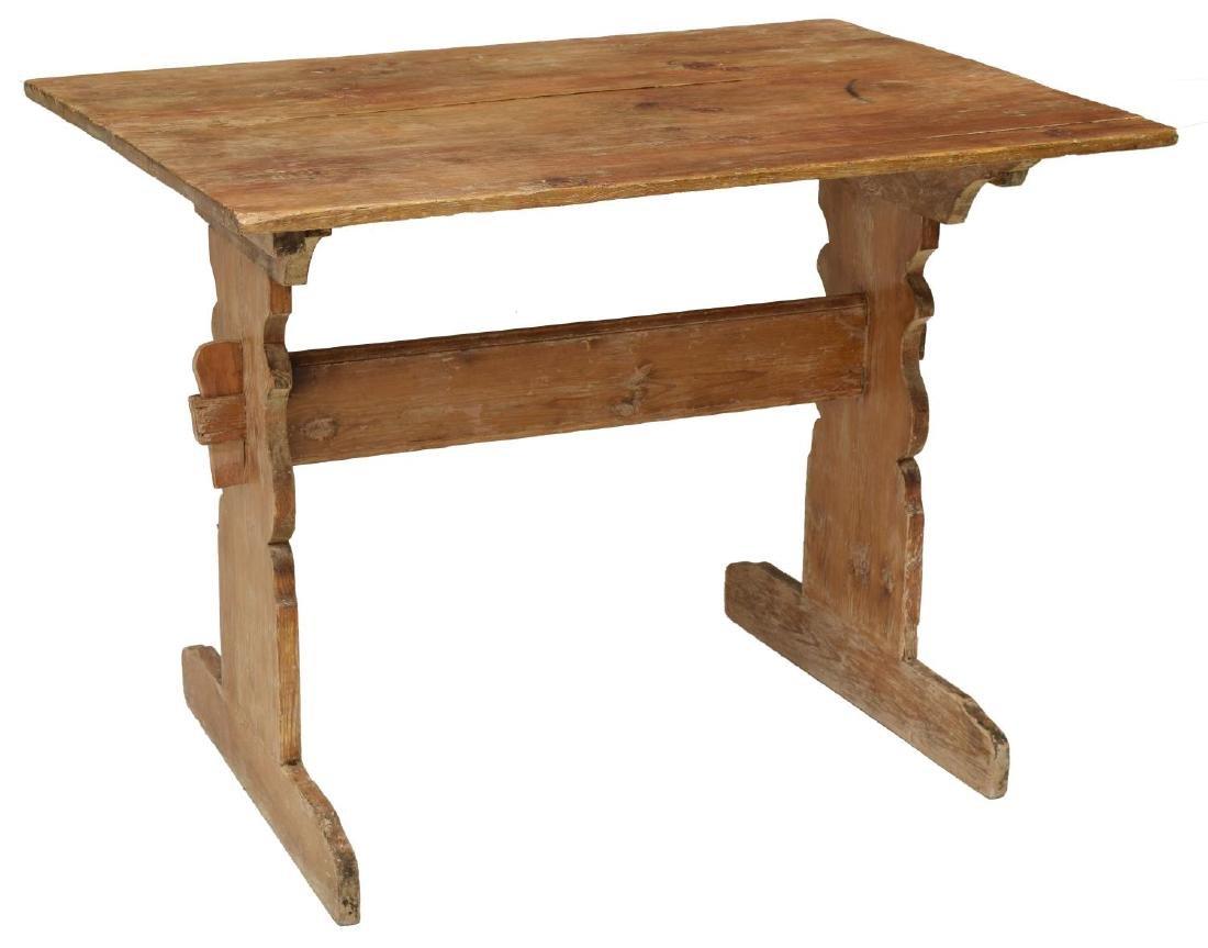 SMALL ANTIQUE SWEDISH PINE TRESTLE TABLE