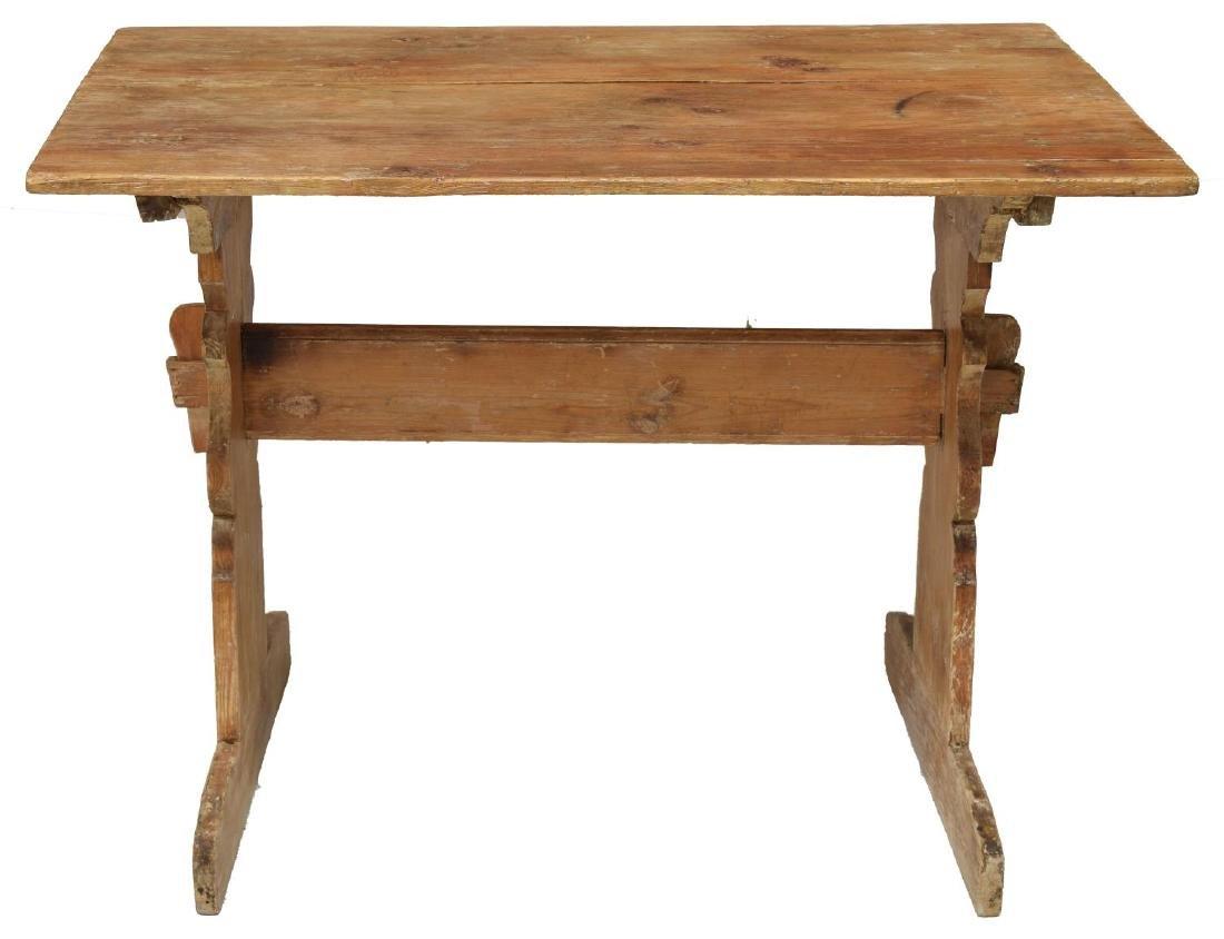 SMALL ANTIQUE SWEDISH PINE TRESTLE TABLE - 2