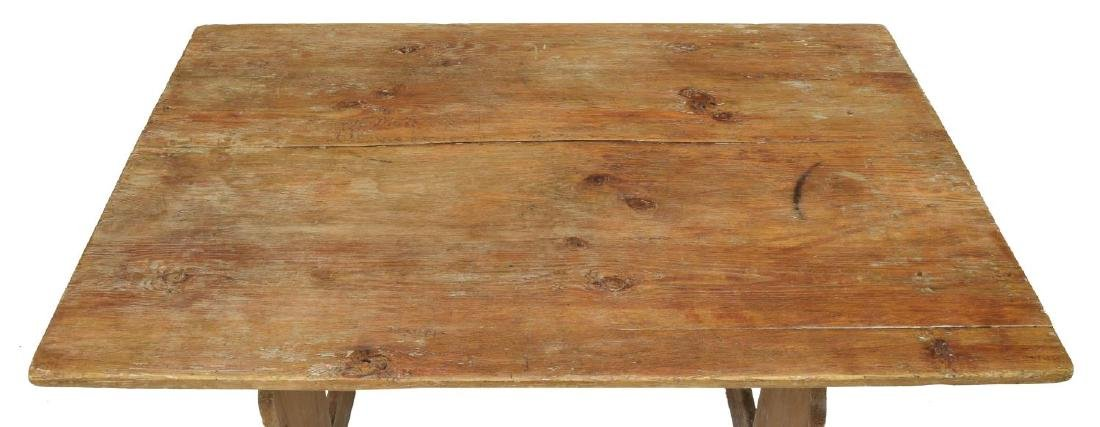 SMALL ANTIQUE SWEDISH PINE TRESTLE TABLE - 3