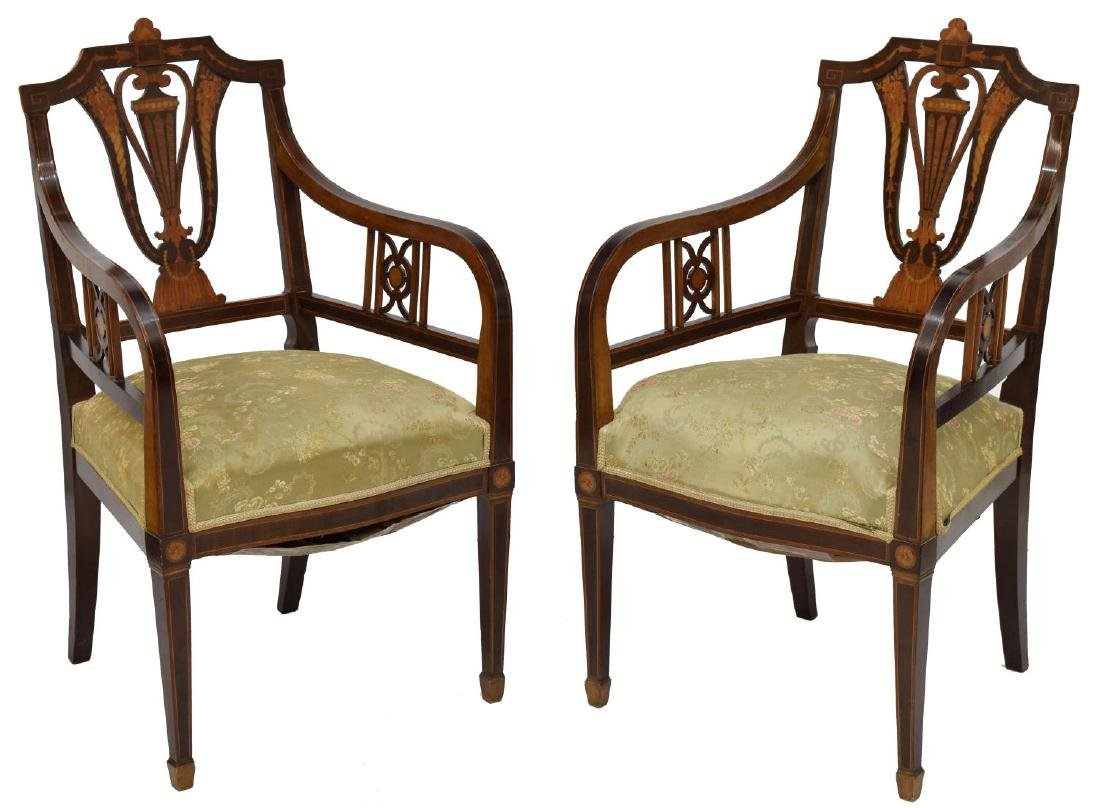 (2) EDWARDIAN ARMCHAIRS WITH MARQUETRY