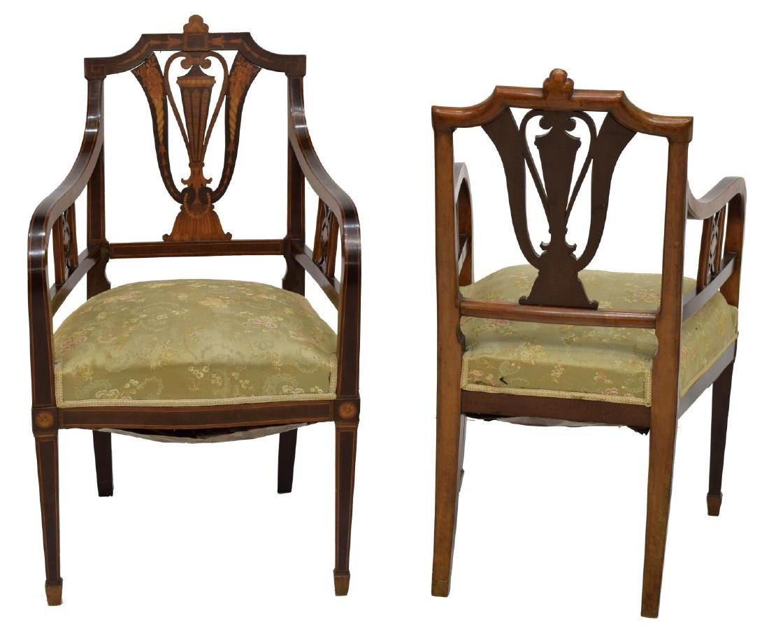 (2) EDWARDIAN ARMCHAIRS WITH MARQUETRY - 2